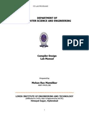 Compiler Design Lab Manual Parsing Compiler
