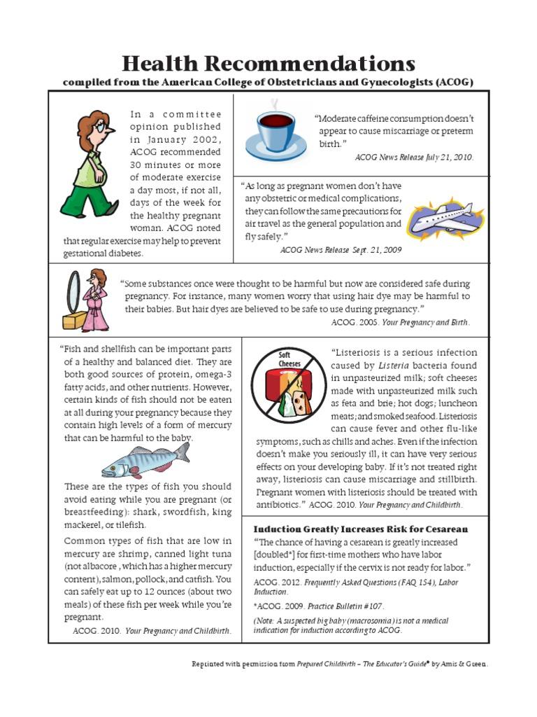 IV-12 Health Recommendations (ACOG) | Pregnancy | Childbirth