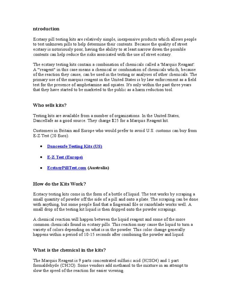 Ecstasy Testing Kit Faq Mdma Chemical Substances