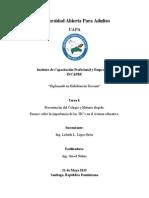 Tarea Unidad I - Presentación de la materia e institución elegida y Ensayo sobre las TIC's  - Lisbeth López