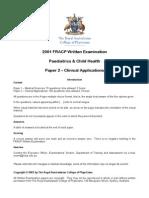 2001 FRACP Written Examination Paediatrics & Child