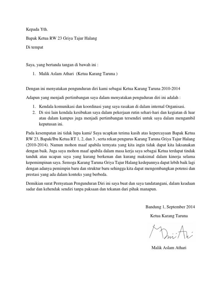 Surat Pengunduran Diri Ketua Karang Taruna Gth