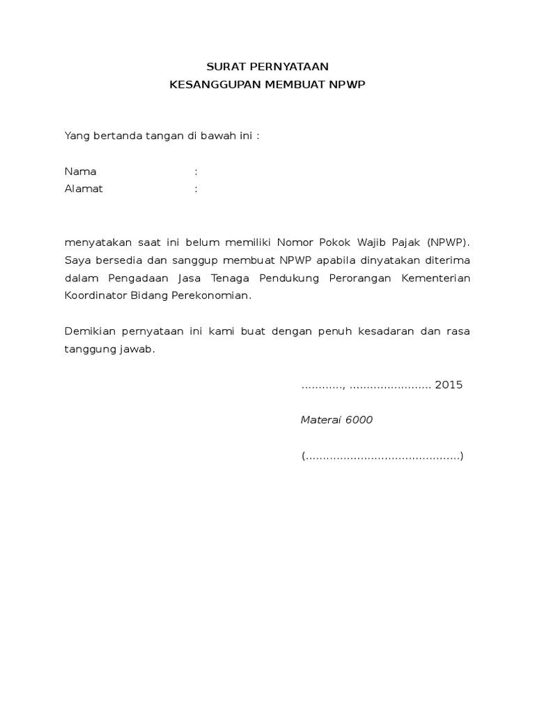 1 format surat pernyataan sanggup membuat npwp format surat pernyataan sanggup membuat npwp altavistaventures Gallery