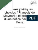Oeuvres Poétiques Choisies de François de Maynard (1582-1646)