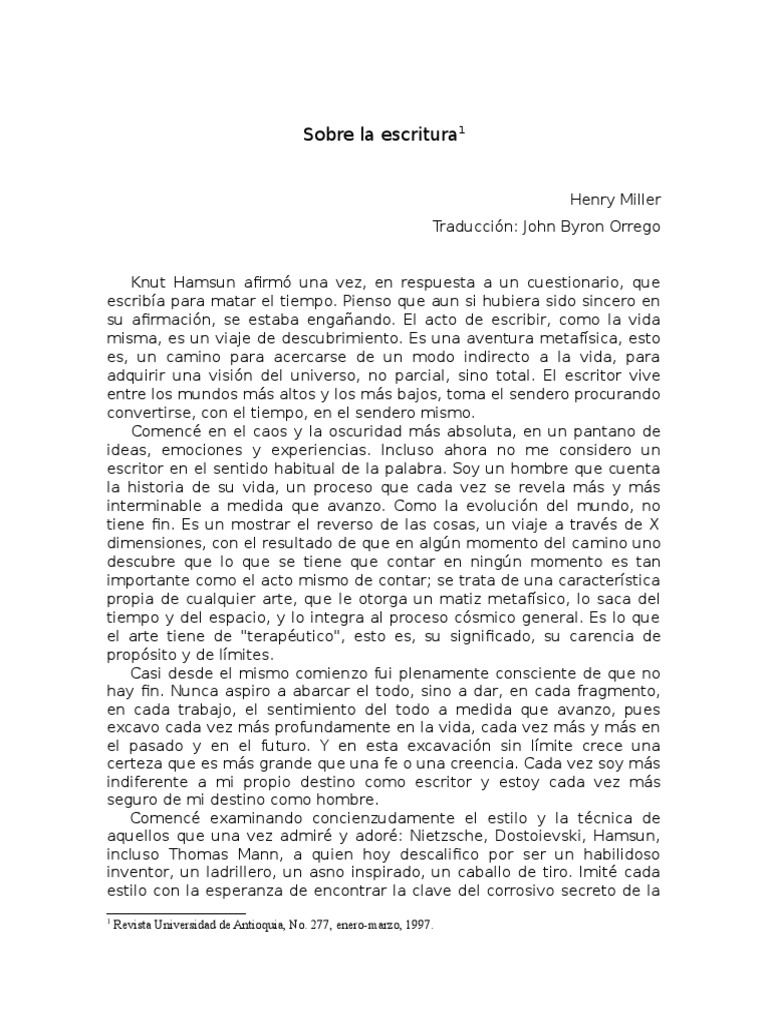 SOBRE LA Escritura Henry Miller