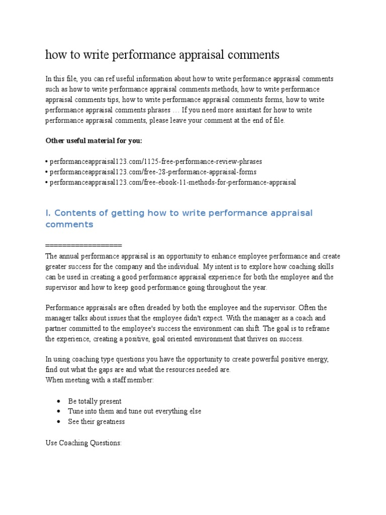How To Write Performance Appraisal Comments  Performance