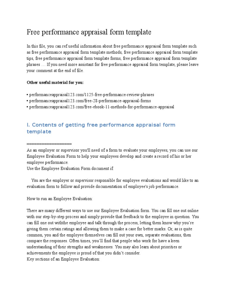 Free Performance Appraisal Form Template | Performance Appraisal | Action  (Philosophy)
