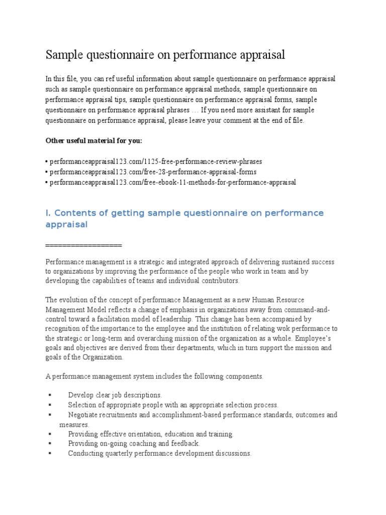 Sample Questionnaire on Performance Appraisal | Performance ...