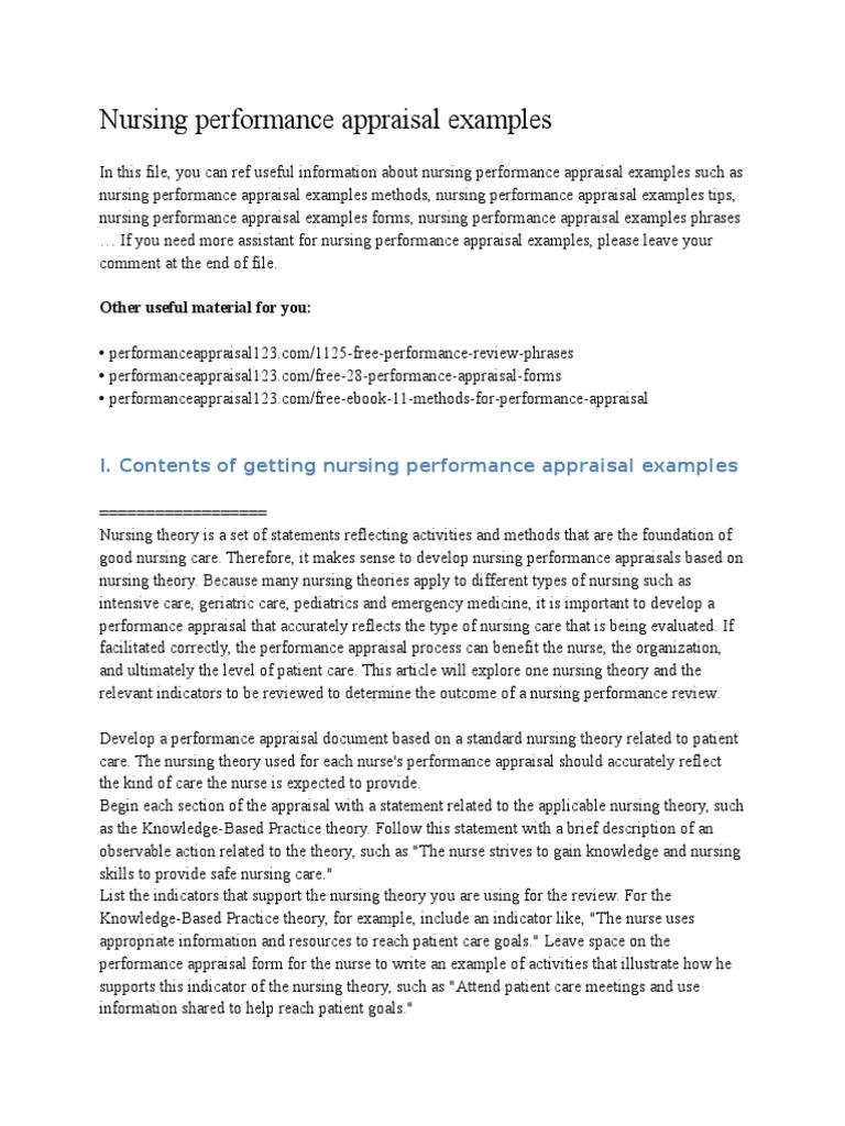 Nursing performance appraisal examples performance appraisal nursing fandeluxe Image collections