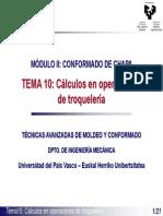 Cálculo en operaciones de troquelería
