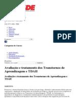 Avaliação e Tratamento Dos Transtornos de Aprendizagem e TDAH _ CESDE - Centro de Estudos e Desenvolvimento Educacional