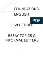 Essays & Informal Letter Topics