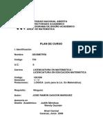 PLAN DE CURSO  754 GEOMETRÍA UNIVERSIDAD NACIONAL ABIERTA VENEZUELA