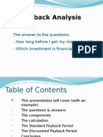 Finance Pay Back Analysis