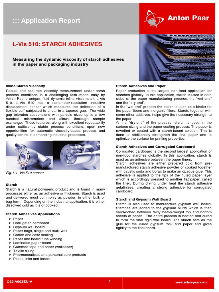 Report on Starch Adhesives | Starch | Adhesive