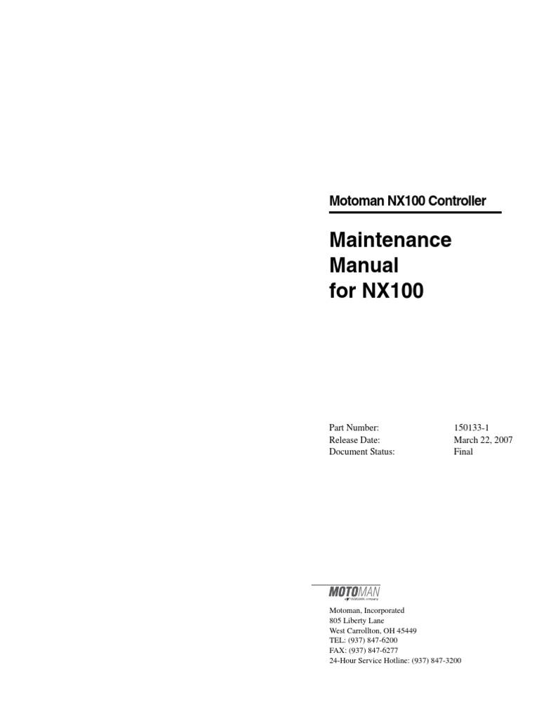 nx100 maintenance power supply mains electricity rh es scribd com Motoman Robot Controllers Motoman NX100 Wiring-Diagram