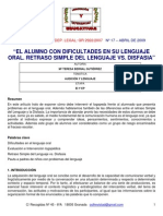 Retraso Simple Del Lenguaje vs Disfasia
