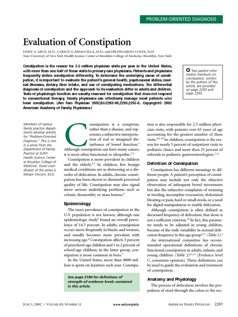 Evaluation of Constipation | Constipation | Rectum