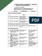 Cause List of 11 Feb 2010