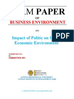 Impact of Politic on Indian Economic Environment