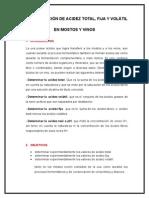 Determinación de Acidez Total Fija y Volátil en Mostos y Vinos.