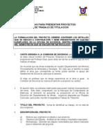 Normas Para Presentar Proyectos de Trabajo de Titulación