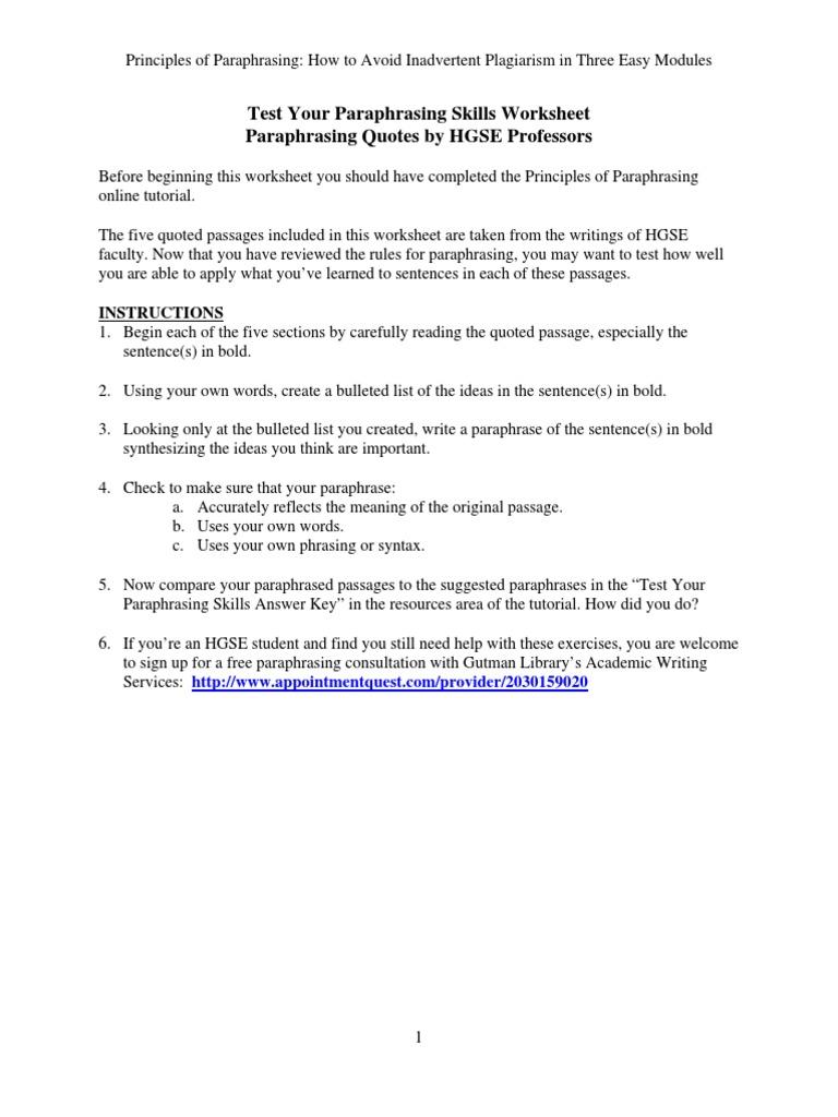 worksheet Syntax Worksheets test your paraphrasing skills worksheet sampling statistics plagiarism