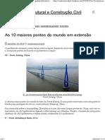 As 10 Maiores Pontes Do Mundo Em Extensão _ Engenharia Estrutural e Construção Civil