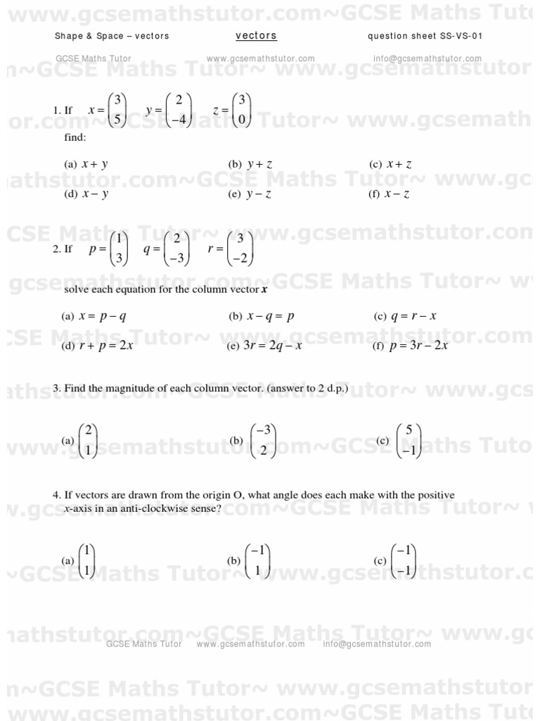 Worksheets Vectors Worksheet vectors worksheet 01 shape space revision from gcse maths tutor