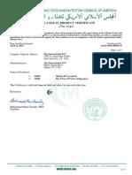 Halal Certificate 2014 US