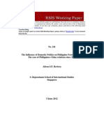 The Influence of Domestic Politics on Philippine Foreign Policy