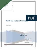 WACC of Power and Pharma Sector comapnies and stock seasonality.