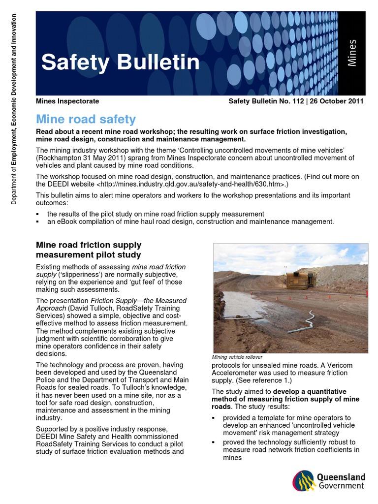 Mines safety bulletin112 mine road safety mining road maxwellsz