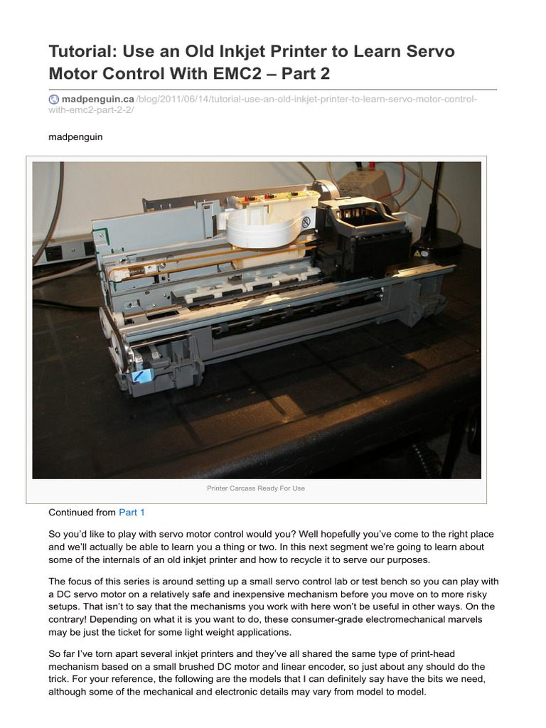 Madpenguin ca-tutorial Use an Old Inkjet Printer to Learn Servo