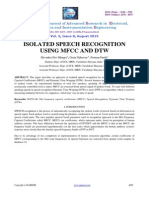 Isolated speech recognize using mfcc and dtw