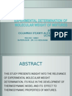 Experimental determination of molecular weight and their relevance to the developement of thermodynamic properties