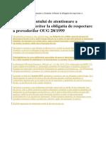 Modelul Anuntului de Atentionare a Clientilor Referitor La Obligatia de Respectare a Prevederilor OUG 28