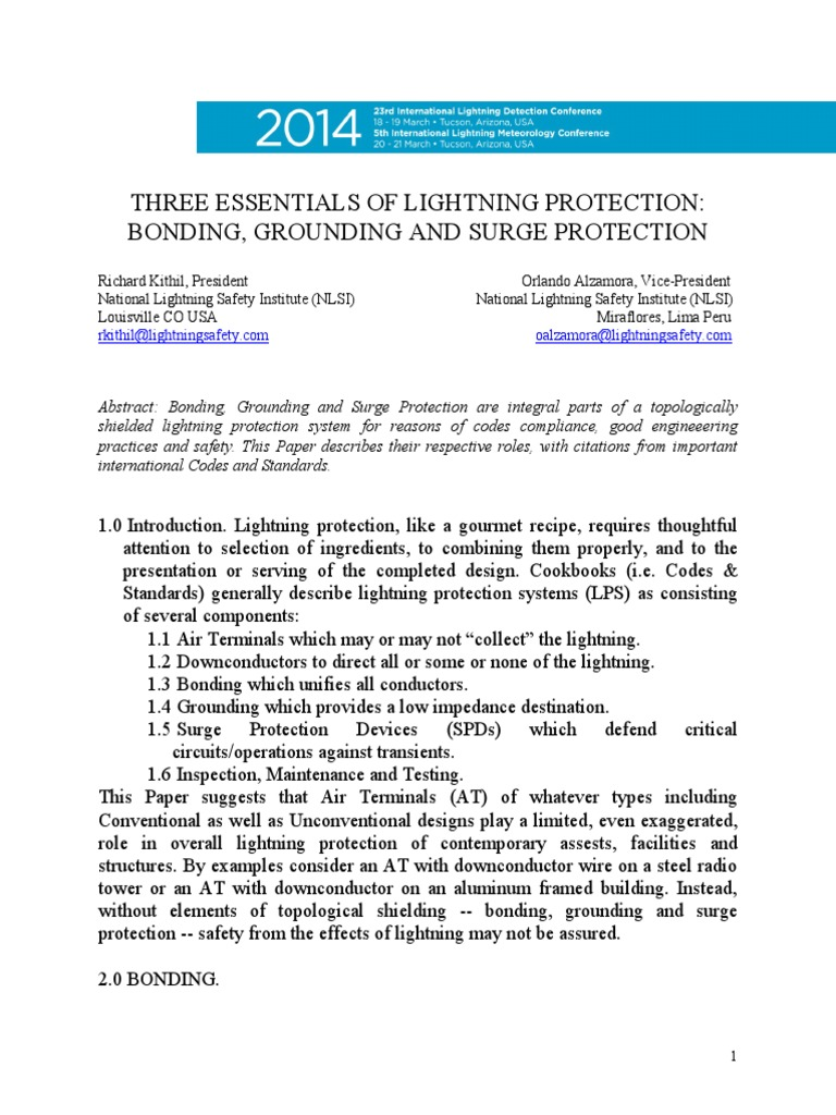 Kithil and Alzamora-Grounding Bonding and Surge Protection-2014-ILDC