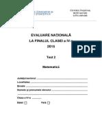 Test 2 Subiecte Matematica Evaluarea Nationala de la Finalul Clasei a IV-A