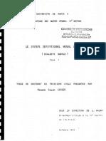 Mohand Salem CHAKER, Le système dérivationnel verbal berbère (dialecte kabyle) – Thèse de Doctorat 3e cycle, 1973. Tome I