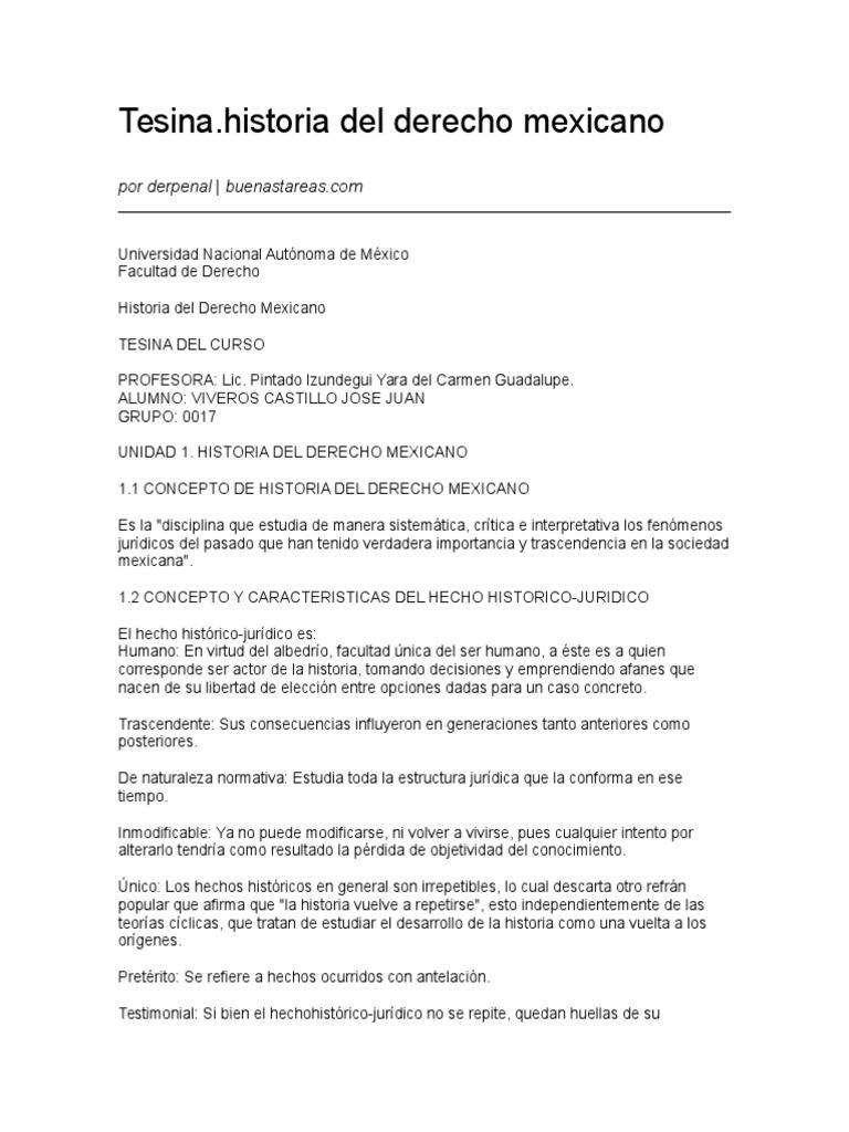 Tesina Historia Del Derecho Mexicano 04 04 2010