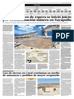 El Comercio - 26-05-2015 - Tras Cinco Años de Espera Se Inicia Juicio Por Contaminación en Minera Sayapullo