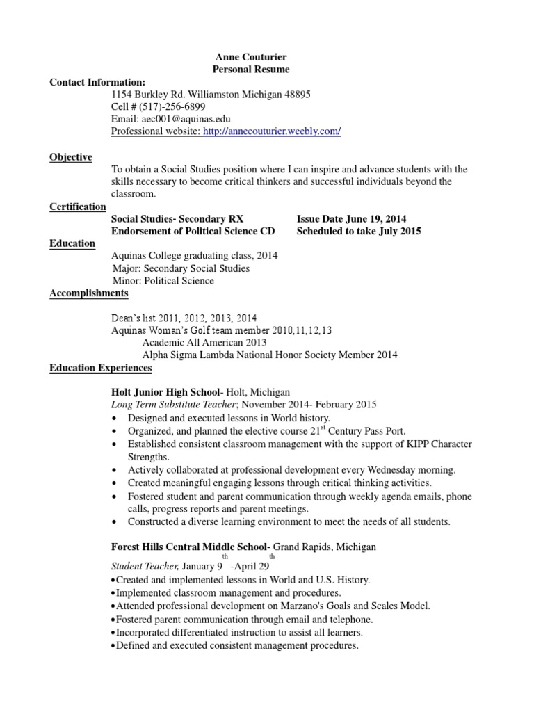 Anne Couturier Resume Classroom Management Differentiated