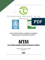 ACTAS de las Primeras Jornadas de Historia Regional de La Matanza