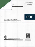 Norma Covenin 2003-89. Acciones Del Viento Sobre Las Construcciones