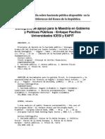 Bibliografía de Apoyo Para La Maestría en Gobierno.