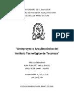 Anteproyecto Arquitectónico Del Instituto Tecnológico de Tecoluca