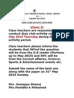 Quiz Club Class 3 Circular