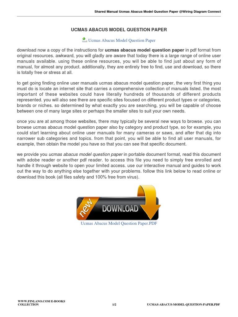 Ucmas Abacus Model Question Paper   9 PDF   PDF   Websites   Computing