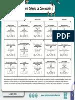 Menú Colegio La Concepción FEC Junio 2015